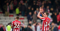 Lincoln City's Harry Toffolo applauds the fans at the final whistle<br /> <br /> Photographer Chris Vaughan/CameraSport<br /> <br /> The EFL Sky Bet League Two - Lincoln City v Macclesfield Town - Saturday 30th March 2019 - Sincil Bank - Lincoln<br /> <br /> World Copyright © 2019 CameraSport. All rights reserved. 43 Linden Ave. Countesthorpe. Leicester. England. LE8 5PG - Tel: +44 (0) 116 277 4147 - admin@camerasport.com - www.camerasport.com