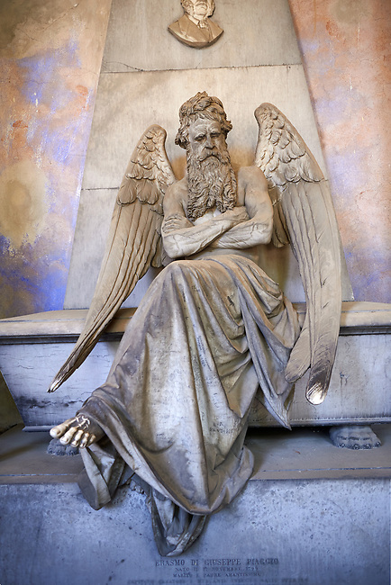 Picture and image of the stone sculpture of an angel sitting on a sarcophagus. Piaggio Tomb sculpted by S Saccomanno 1876. Section A, no 46, The  monumental tombs of the Staglieno Monumental Cemetery, Genoa, Italy