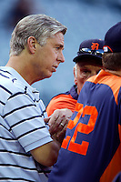 Detroit Tigers General Manager Dave Dombrowski talks with Tigers Manager Jim Leyland #10 before a game against the Los Angeles Angels at Angel Stadium on September 7, 2012 in Anaheim, California. Los Angeles defeated Detroit 3-2. (Larry Goren/Four Seam Images)