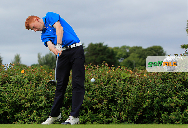 John Murphy (Kinsale) on the 18th tee during R1 of the 2016 Connacht U18 Boys Open, played at Galway Golf Club, Galway, Galway, Ireland. 05/07/2016. <br /> Picture: Thos Caffrey | Golffile<br /> <br /> All photos usage must carry mandatory copyright credit   (&copy; Golffile | Thos Caffrey)
