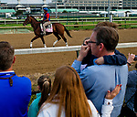 LOUISVILLE, KY - MAY 02: Coach Rocks walks onto the track for morning workouts in preparation for the Kentucky Oaks as young fans watch at Churchill Downs on May 2, 2018 in Louisville, Kentucky. (Photo by Scott Serio/Eclipse Sportswire/Getty Images)