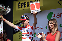 Tim Wellens (BEL/Lotto-Soudal) is besides the new Polka Dot Jersey / KOM leader also awarded with the combativity prize after stage 3<br /> <br /> Stage 3: Binche (BEL) to Épernay (FRA) (214km)<br /> 106th Tour de France 2019 (2.UWT)<br /> <br /> ©kramon