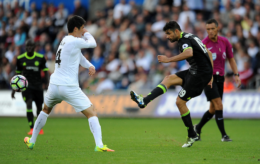Chelsea's Diego Costa in action during todays match  <br /> <br /> Photographer Ashley Crowden/CameraSport<br /> <br /> The Premier League - Swansea City v Chelsea - Sunday September 11 2016 - Liberty Stadium - Swansea<br /> <br /> World Copyright &copy; 2016 CameraSport. All rights reserved. 43 Linden Ave. Countesthorpe. Leicester. England. LE8 5PG - Tel: +44 (0) 116 277 4147 - admin@camerasport.com - www.camerasport.com