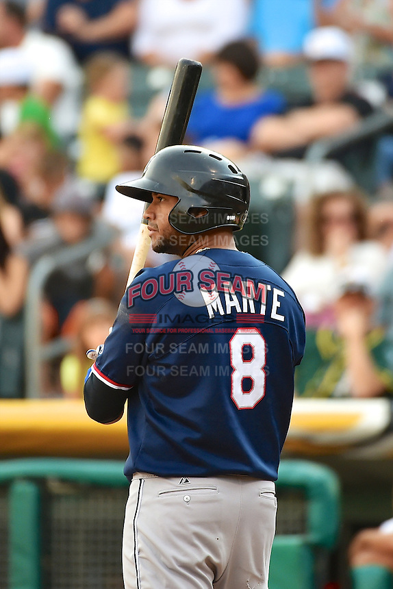 Andy Marte (8) of the Reno Aces at bat against the Salt Lake Bees in Pacific Coast League action at Smith's Ballpark on July 24, 2014 in Salt Lake City, Utah.  (Stephen Smith/Four Seam Images)