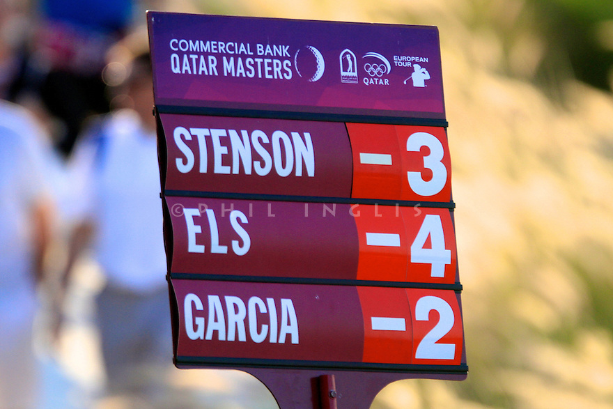 Scoreboard in action during the final round of the Commercial Bank Qatar Masters played at Doha Golf Club, Doha, Qatar. 21-24 January 2015 (Picture Credit / Phil Inglis)