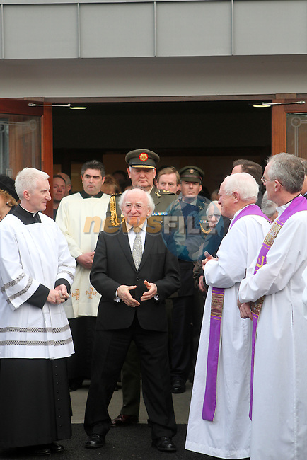 President Michael D.Higgins at the Funeral of Minister of State Shane McEntee which took place today in Nobber, Co.Meath...Photo NEWSFILE/Jenny Matthews..(Photo credit should read Jenny Matthews/NEWSFILE)
