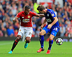 Luis Antonio Valencia of Manchester United takes on Christian Fuchs of Leicester City during the Premier League match at Old Trafford Stadium, Manchester. Picture date: September 24th, 2016. Pic Sportimage