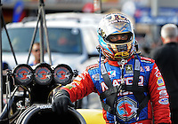 Sept. 17, 2010; Concord, NC, USA; NHRA top fuel dragster driver Antron Brown during qualifying for the O'Reilly Auto Parts NHRA Nationals at zMax Dragway. Mandatory Credit: Mark J. Rebilas/