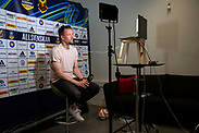 OSTERSUND, SWEDEN - JUNE 11: Ian Burchnall, head coach of Ostersunds FK during the Allsvenskan digital kick off meeting at OFK-Butiken on June 11, 2020 in Ostersund, Sweden. The Swedish top-tier league, Allsvenskan original kick off event were canceled earlier this year due to the Coronavirus, (COVID-19). The host broadcaster, Discovery Networks had decided to accomplish it using digital meeting were the coaches in each team connect to a meeting with their webcam. (Photo by David Lidström Hultén/LPNA)