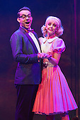 London, UK. 15 September 2015. Pictured: Ben Forster as Brad and Helen Flaherty as Janet. The Rocky Horror Show, written and starring Richard O'Brien, returns to the West End for a limited run at the Playhouse theatre from 11 September 2015. The Rocky Horror Show Gala Performance on 17 September will be broadcast live to cinemas across the UK and Europe. With Richard O'Brien as Narrator, David Bedella as Frank'n'furter, Ben Forster as Brad, Haley Flaherty as Janet and Dominic Andersen as Rocky. Photo: Bettina Strenske