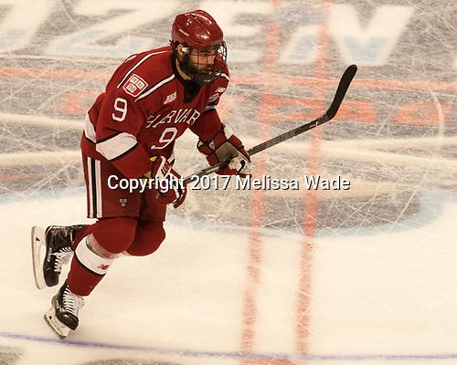 Luke Esposito (Harvard - 9) - The University of Minnesota Duluth Bulldogs defeated the Harvard University Crimson 2-1 in their Frozen Four semi-final on April 6, 2017, at the United Center in Chicago, Illinois.
