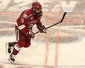 Luke Esposito (Harvard - 9) - The University of Minnesota Duluth Bulldogs defeated the Harvard University Crimson 2-1 in their Frozen Four semi-final on April 6, 2017, at the United Center in Chicago, Illinois.