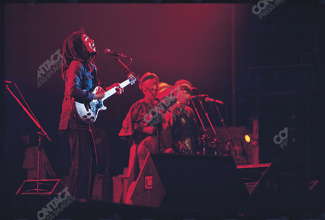 Bob Marley and The Wailers in Paris, France on their Exodus Tour in Europe.  May 10, 1977.
