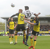 Bolton Wanderers Sammy Ameobi jumps with Burton Albion's Tom Naylor<br /> <br /> Photographer Mick Walker/CameraSport<br /> <br /> The EFL Sky Bet Championship - Burton Albion v Bolton Wanderers - Saturday 28th April 2018 - Pirelli Stadium - Burton upon Trent<br /> <br /> World Copyright &copy; 2018 CameraSport. All rights reserved. 43 Linden Ave. Countesthorpe. Leicester. England. LE8 5PG - Tel: +44 (0) 116 277 4147 - admin@camerasport.com - www.camerasport.com