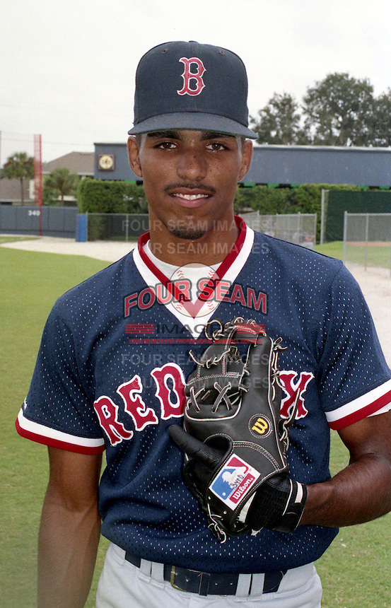 Boston Red Sox minor league shortstop / pitcher Frankie Rodriguez during the 1991 season at Chain of Lakes Park in Winter Haven, Florida.  (MJA/Four Seam Images)