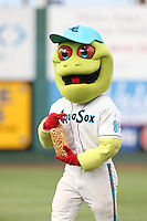 Everett AquaSox mascot Webbly with a bag of popcorn between innings of a game against the Spokane Indians at Everett Memorial Stadium on July 25, 2015 in Everett, Washington. Spokane defeated Everett, 10-1. (Larry Goren/Four Seam Images)