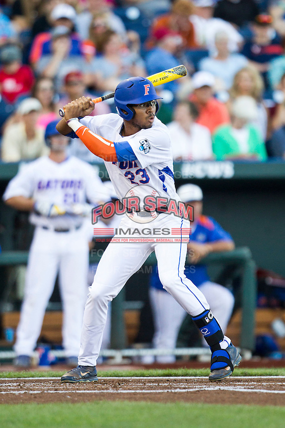 Florida Gators outfielder Buddy Reed (23) at bat against the Miami Hurricanes in the NCAA College World Series on June 13, 2015 at TD Ameritrade Park in Omaha, Nebraska. Florida defeated Miami 15-3. (Andrew Woolley/Four Seam Images)