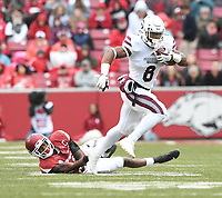NWA Democrat-Gazette/J.T. WAMPLER Mississippi State's Kylin Hill runs the ball Saturday Nov. 18, 2017 at Donald W. Reynolds Razorback Stadium in Fayetteville. Arkansas lost 21-28.