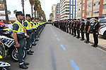 Guardia Civil lined up for inspection before the start of Stage 4 of La Vuelta 2019 running 175.5km from Cullera to El Puig, Spain. 27th August 2019.<br /> Picture: Eoin Clarke | Cyclefile<br /> <br /> All photos usage must carry mandatory copyright credit (© Cyclefile | Eoin Clarke)