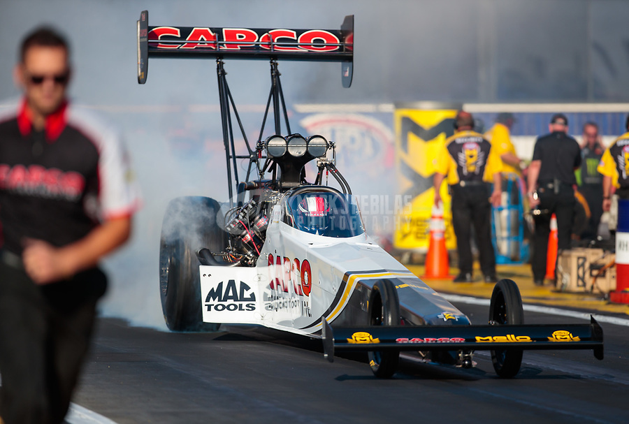Nov 11, 2018; Pomona, CA, USA; NHRA top fuel driver Steve Torrence during the Auto Club Finals at Auto Club Raceway. Mandatory Credit: Mark J. Rebilas-USA TODAY Sports