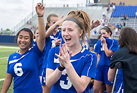 NWA Democrat-Gazette/CHARLIE KAIJO Rogers High School midfielder Skylurr Patrick (3) reacts with her teammates after winning the semifinals of the 7A Girls State Soccer Tournament, Saturday, May 12, 2018 at Whitey Smith Stadium at Rogers High School in Rogers. Rogers advanced to the finals when midfielder Skylurr Patrick (3) scored both of Rogers' goals defeating Southside High School, 2-1.