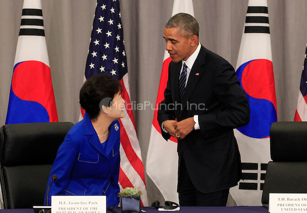 United States President Barack Obama attends a  trilateral meeting with President Park Geun-Hye of the Republic of Korea at the Nuclear Security Summit in Washington, DC on March 31, 2016.<br /> Credit: Dennis Brack / Pool via CNP/MediaPunch