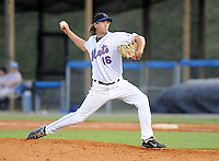 Pitcher Ken McDowall (16) of the Kingsport Mets, Appalachian League affiliate of the New York Mets, in a game against the Burlington Royals on August 20, 2011, at Hunter Wright Stadium in Kingsport, Tennessee. Kingsport defeated Burlington, 17-14. (Tom Priddy/Four Seam Images)