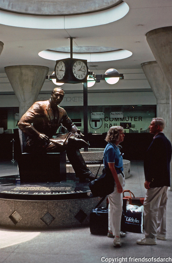 Boston: Bronze sculpture of  A. Philip Randolph, Civil Rights leader. Sculptor Tina Allen at T Station,  Back Bay.  Photo '91.