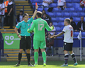 Bolton v Derby. SkyBet Championship. 8/8/15 <br /> <br /> Bolton's Jay Spearing, right, gets marching orders from referee Andrew Madley as Derby keeper Scott Carson watches.<br /> <br /> Credit: PHSP/Harry McGuire