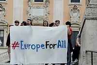 Roma, 23 Marzo 2017<br /> Fash mob al Campidoglio per promuovere la manifestazione del 25 Marzo in solidariet&agrave; con migranti e rifugiati contro la politica dell'Europa sull'accoglienza dei migranti.