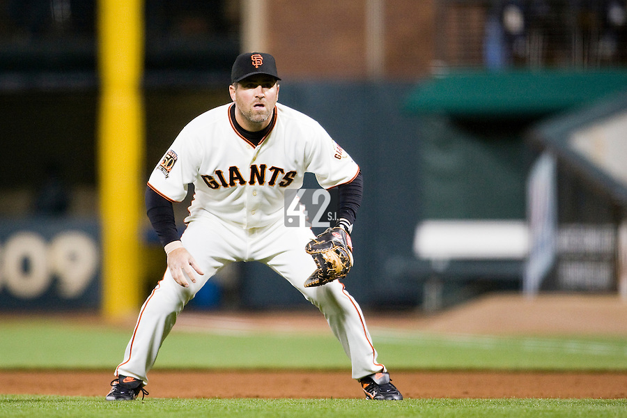 09 April 2008: San Francisco Giants First Base Rich Aurilia is seen during the San Francisco Giants 2-1 victory over the San Diego Padres at the AT&T Park in San Francisco, CA.