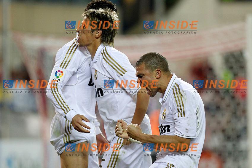 Esultanza dopo il gol di Cristiano Ronaldo (Real Mdrid) con Fabio Coentrao e Pepe. .La Liga spagnola.11/04/2012 Madrid.Photo Insidefoto / Alex Cid-Fuentes / Alterphotos..Only Italy