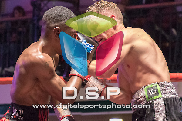 Jamie Speight VS Matthew Chanda - Vacant Super Bantam Southern Area Title. Photo by: Simon Downing.<br /> <br /> Goodwin Boxing: Paddy's Day Punch Up - Saturday 19th March 2016. York Hall, Bethnal Green, London, United Kingdom.