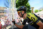 Simon Yates (GBR) Mitchelton-Scott at sign on before Stage 20 of the 2019 Giro d'Italia, running 194km from Feltre to Croce d'Aune-Monte Avena, Italy. 1st June 2019<br /> Picture: Gian Mattia D'Alberto/LaPresse | Cyclefile<br /> <br /> All photos usage must carry mandatory copyright credit (© Cyclefile | Gian Mattia D'Alberto/LaPresse)