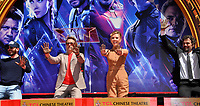 """LOS ANGELES, USA. April 23, 2019: Chris Evans, Robert Downey Jr., Scarlett Johansson & Mark Ruffalo  at the handprint ceremony for the cast of """"Avengers: Endgame"""" at the TCL Chinese Theatre.<br /> Picture: Paul Smith/Featureflash"""