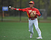 Anthony Greco #3, Chaminade second baseman, throws to first base during a CHSAA varsity baseball game against St. John the Baptist at Cantiague Park on Friday, Apr. 29, 2016. Baptist won win by a score of 4-0.