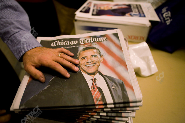 Copies of the Chicago Tribune on sale in the lobby of the Tribune building the day after Barack Obama wone the US Presidential election, Chicao, Illinois, November 5, 2008