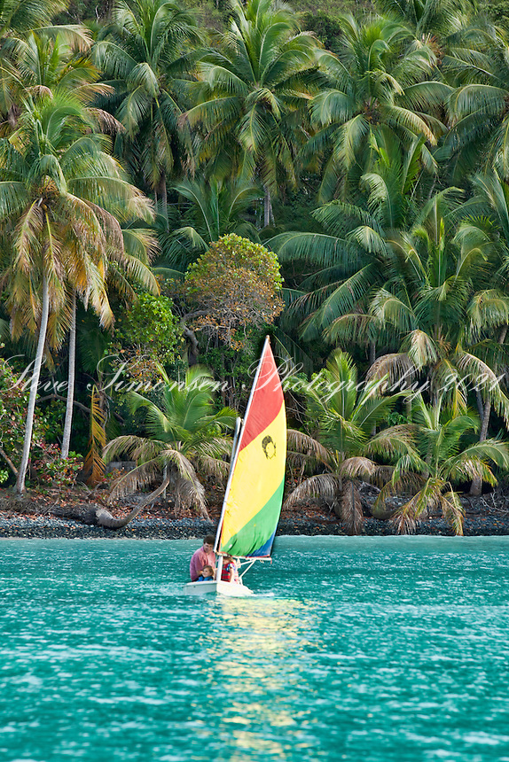 Sailing a sunfish in the afternoon.Maho Bay, St. John.U.S. Virgin Islands
