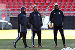 09 December 2016: Toronto head coach Greg Vanney (center) with assistant coaches Robin Fraser (right) and Nick Theslof (left). Toronto FC held a training session one day before playing in MLS Cup 2016 at BMO Field in Toronto, Ontario in Canada.