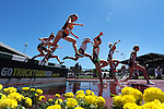 13 JUNE 2015: Runners jump the water pit during the Women's 3000 meter Steeplechase during the Division I Men's and Women's Outdoor Track & Field Championship held at Hayward Field in Eugene, OR. Steve Dykes/ NCAA Photos