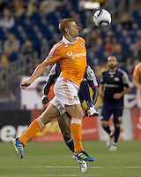 Houston Dynamo defender Andre Hainault (31) intercepts pass with his body. In a Major League Soccer (MLS) match, the New England Revolution tied Houston Dynamo, 1-1, at Gillette Stadium on August 17, 2011.