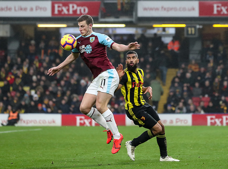 Burnley's Chris Wood competing with Watford's Adrian Mariappa <br /> <br /> Photographer Andrew Kearns/CameraSport<br /> <br /> The Premier League - Watford v Burnley - Saturday 19 January 2019 - Vicarage Road - Watford<br /> <br /> World Copyright &copy; 2019 CameraSport. All rights reserved. 43 Linden Ave. Countesthorpe. Leicester. England. LE8 5PG - Tel: +44 (0) 116 277 4147 - admin@camerasport.com - www.camerasport.com