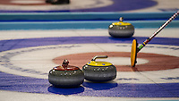 Glasgow. SCOTLAND.  Lining up the shot using the &quot;Sweeping Brush&quot;, as an alignment point,  &quot;Round Robin&quot; Game. Le Gruy&egrave;re European Curling Championships. 2016 Venue, Braehead  Scotland<br /> Tuesday  22/11/2016<br /> <br /> [Mandatory Credit; Peter Spurrier/Intersport-images]
