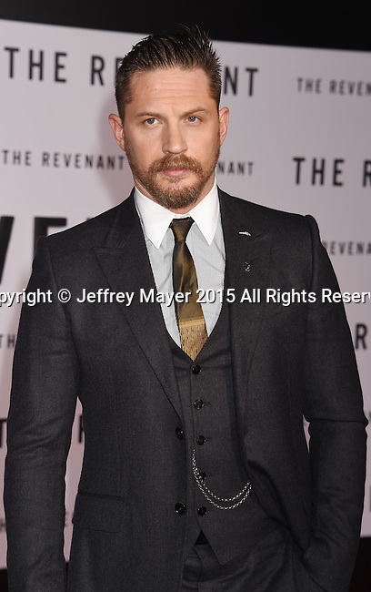 HOLLYWOOD, CA - DECEMBER 16: Actor Tom Hardy arrives at the Premiere of 20th Century Fox And Regency Enterprises' 'The Revenant' at TCL Chinese Theatre on December 16, 2015 in Hollywood, California.