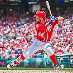 21 June 2015: Washington Nationals outfielder Bryce Harper at bat for the second time in the first inning against the Pittsburgh Pirates at Nationals Park in Washington, DC. The Nationals defeated the Pirates 9-2 to sweep their 3-game weekend series, and improve their record to 37-33. Mandatory Credit: Ed Wolfstein Photo *** RAW (NEF) Image File Available ***