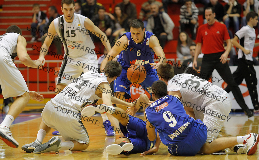 Kosarka ABA League season 2012-2013.Partizan Vs. Siroki.Branislav Djekic Dejan Musli Darko Planinic Josip Naletelic.Beograd, 14.10.2012..foto: Srdjan Stevanovic/Starsportphoto ©