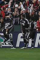 DC United  forward Luciano Emilio (11) celebrates with team mates Rodney Wallace (22) and Clyde Simms (19) his score in the 7th minute of the game. Chicago Fire tied DC United 1-1 at  RFK Stadium, Saturday March 28, 2009.