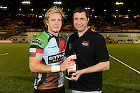 20130803 Copyright onEdition 2013 ©<br /> Free for editorial use image, please credit: onEdition.<br /> <br /> Charlie Walker of Harlequins 7s wins Man of the Group at the end of the J.P. Morgan Asset Management Premiership Rugby 7s Series.<br /> <br /> The J.P. Morgan Asset Management Premiership Rugby 7s Series kicks off for the fourth season on Thursday 1st August with Pool A at Kingsholm, Gloucester with Pool B being played at Franklin's Gardens, Northampton on Friday 2nd August, Pool C at Allianz Park, Saracens home ground, on Saturday 3rd August and the Final being played at The Recreation Ground, Bath on Friday 9th August. The innovative tournament, which involves all 12 Premiership Rugby clubs, offers a fantastic platform for some of the country's finest young athletes to be exposed to the excitement, pressures and skills required to compete at an elite level.<br /> <br /> The 12 Premiership Rugby clubs are divided into three groups for the tournament, with the winner and runner up of each regional event going through to the Final. There are six games each evening, with each match consisting of two 7 minute halves with a 2 minute break at half time.<br /> <br /> For additional images please go to: http://www.w-w-i.com/jp_morgan_premiership_sevens/<br /> <br /> For press contacts contact: Beth Begg at brandRapport on D: +44 (0)20 7932 5813 M: +44 (0)7900 88231 E: BBegg@brand-rapport.com<br /> <br /> If you require a higher resolution image or you have any other onEdition photographic enquiries, please contact onEdition on 0845 900 2 900 or email info@onEdition.com<br /> This image is copyright the onEdition 2013©.<br /> <br /> This image has been supplied by onEdition and must be credited onEdition. The author is asserting his full Moral rights in relation to the publication of this image. Rights for onward transmission of any image or file is not granted or implied. Changing or deleting Copyright information is illegal as specified in the Copyright, Design a