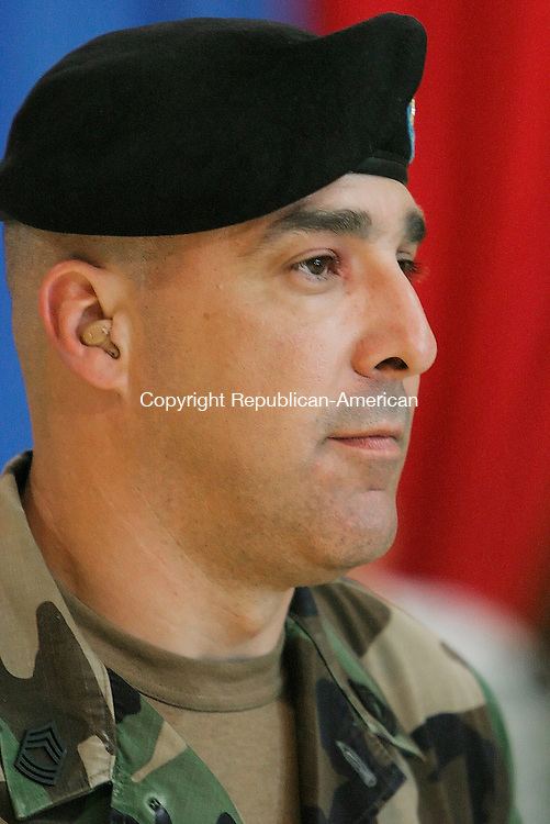 WATERBURY, CT--15 JUNE 2006 -061506JS16- Master Sgt. Roger Hall Sicard of Woodbury at the send off ceremony for members of the Connecticut National Guard's 143rd Combat Sustainment Support Battalion Thursday at the Waterbury Armory. 70 members of the group will be deployed to Iraq for 18 months following training at Fort Dix in New Jersey. -- Jim Shannon Republican-American