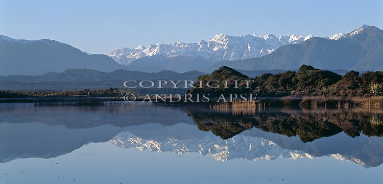Okarito Lagoon and the Southern Alps. Westland National Park. New Zealand.